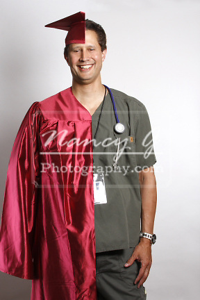 A Graduate in a cap and gown split image with a doctors uniform