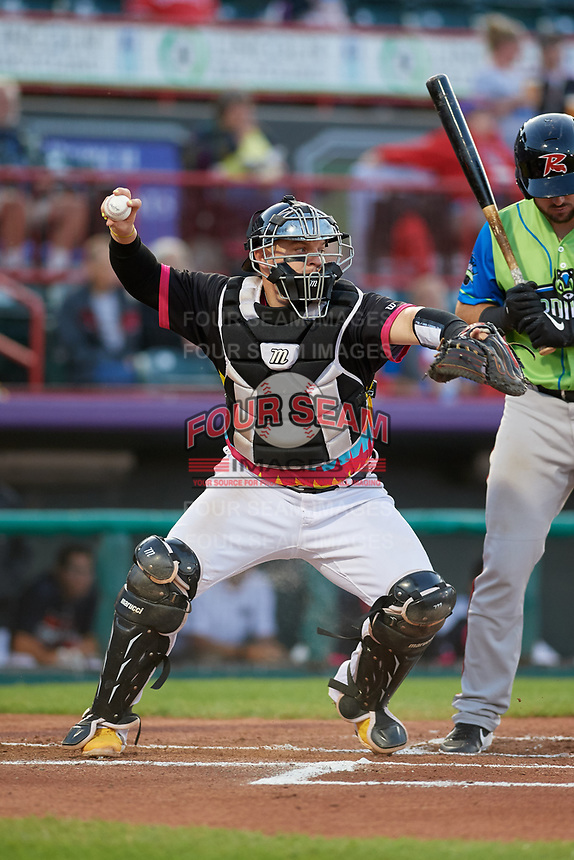 Erie Piñatas catcher Kade Scivicque (20) throws down to second base during an Eastern League game against the Las Ardillas Voladoras de Richmond on August 28, 2019 at UPMC Park in Erie, Pennsylvania.  Richmond defeated Erie 4-3 in the second game of a doubleheader.  (Mike Janes/Four Seam Images)