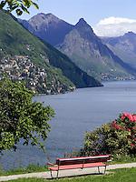 CHE, Schweiz, Tessin, Lugano: Blick vom Stadteil Paradiso auf den Luganer See | CHE, Switzerland, Ticino, Lugano: view from Paradiso at Lake Lugano