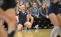 NWA Democrat-Gazette/ANDY SHUPE<br /> Har-Ber coach Shyrah Schisler reacts after a point against Fayetteville Wednesday, Sept. 13, 2017, during play in Bulldog Arena. Visit nwadg.com/photos to see more photographs from the match.