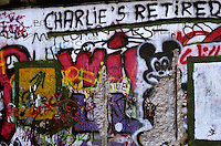 'Charlie's retired' - graffiti, Berlin Wall west zone.10 November 1989