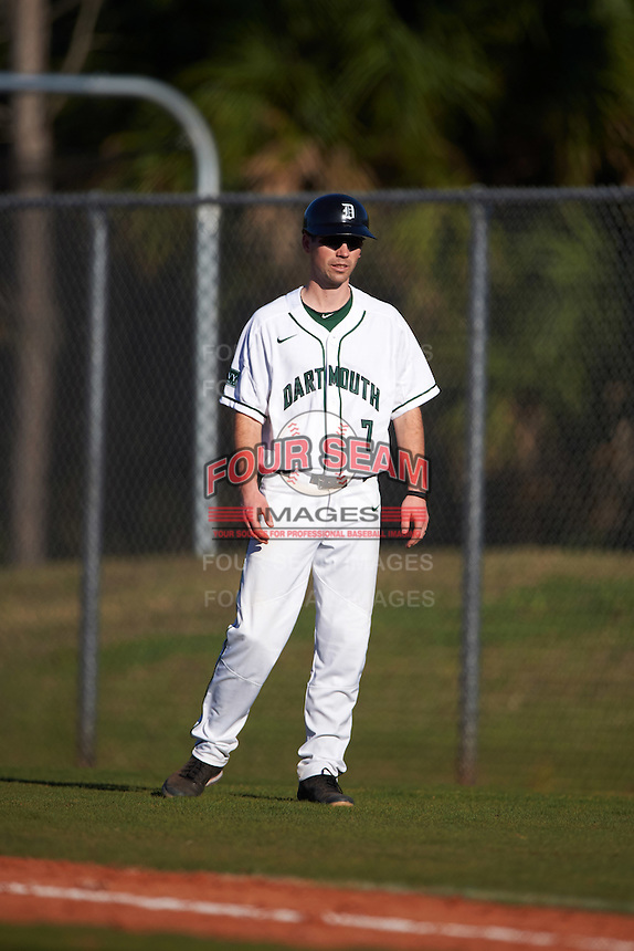 Dartmouth Big Green coach Evan Wells (7) during a game against the St. Bonaventure Bonnies on February 25, 2017 at North Charlotte Regional Park in Port Charlotte, Florida.  St. Bonaventure defeated Dartmouth 8-7.  (Mike Janes/Four Seam Images)