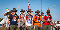 Some Scouts from USA walking on autumn road. Photo: André Jörg/ Scouterna
