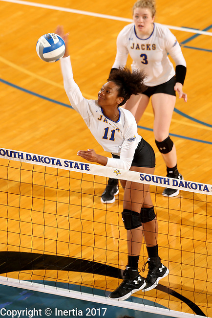 BROOKINGS, SD - SEPTEMBER 1: Payton Richardson #11 from South Dakota State University tries to get a kill past the defense of CSU Bakersfield during their match Friday night at the Jackrabbit Invitational at Frost Arena in Brookings. (Photo by Dave Eggen/Inertia) (Photo by Dave Eggen/Inertia)