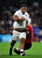 Mako Vunipola of England takes on the France defence. QBE International match between England and France on August 15, 2015 at Twickenham Stadium in London, England. Photo by: Patrick Khachfe / Onside Images