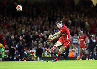 Pictured: Dan Biggar of Wales scores from the spot. Saturday 08 November 2014<br />