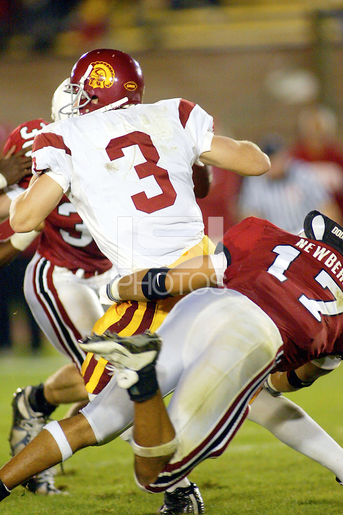 Jared Newberry during Stanford's 49-17 loss to USC on November 9, 2002 at Stanford Stadium.<br />