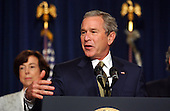 Washington, D.C. - June 23, 2005 -- United States President George W. Bush makes remarks on the Central American Free Trade Agreement (CAFTA).  Democratic and Republican officials from previous administrations stand with the President in support of the agreement.<br /> Credit: Ron Sachs / CNP