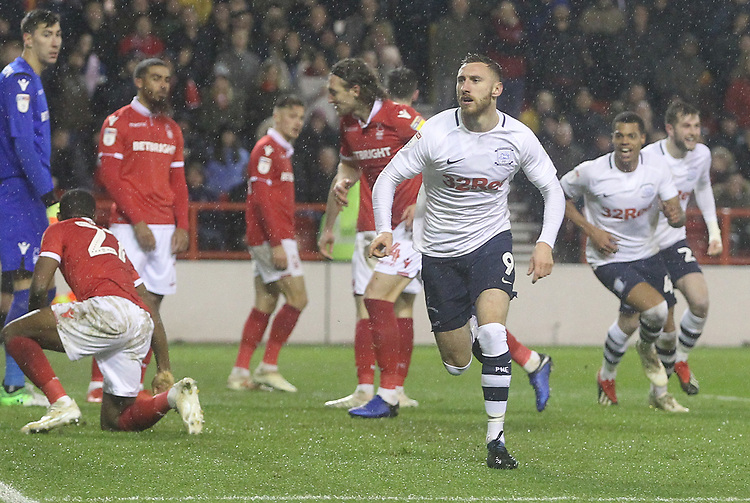 Preston North End's Louis Moult celebrates scoring his sides first goal <br /> <br /> Photographer Mick Walker/CameraSport<br /> <br /> The EFL Sky Bet Championship - Nottingham Forest v Preston North End - Saturday 8th December 2018 - The City Ground - Nottingham<br /> <br /> World Copyright © 2018 CameraSport. All rights reserved. 43 Linden Ave. Countesthorpe. Leicester. England. LE8 5PG - Tel: +44 (0) 116 277 4147 - admin@camerasport.com - www.camerasport.com