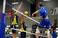GRONINGEN - Volleybal, Abiant Lycurgus - Inter Rijswijk, Alfa College , Eredivisie , seizoen 2017-2018, 21-10-2017 smash van Lycurgus speler Stijn van Schie