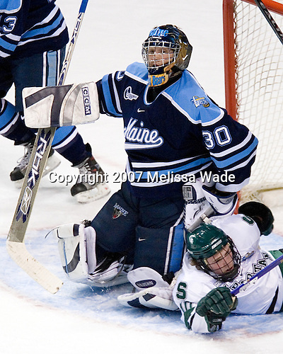 Ben Bishop (University of Maine - Des Peres, MO), Tim Kennedy (Michigan State - Buffalo, NY) - The Michigan State Spartans defeated the University of Maine Black Bears 4-2 in their 2007 Frozen Four semi-final on Thursday, April 5, 2007, at the Scottrade Center in St. Louis, Missouri.