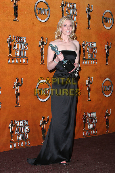 CATE BLANCHETT.11th Annual Screen Actors Guild Awards (SAG) held at the Shrine Auditorium. Los Angeles, California.Photo Credit: Jacqui Wong/AdMedia.February 5th, 2005.full length, award, trophy, strapless, black silk satin dress.www.capitalpictures.com.sales@capitalpictures.com.© Capital Pictures.