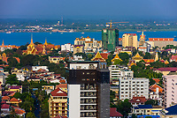Skyline (on left is the Royal Palace and Silver Pagoda)of Phnom Penh, Cambodia.