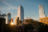 10 Hudson Yards, left, and other Hudson Yards development in New York on Wednesday, October 12, 2016.  (© Richard B. Levine)
