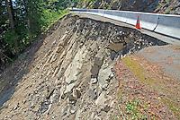 Landslide damaged road section in Mount Rainier National Park, Washington State.
