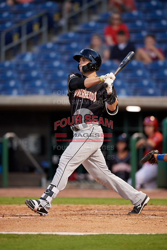 Jupiter Hammerheads first baseman Will Allen (30) follows through on a swing during a game against the Clearwater Threshers on April 12, 2018 at Spectrum Field in Clearwater, Florida.  Jupiter defeated Clearwater 8-4.  (Mike Janes/Four Seam Images)