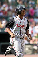 June 15th 2008:  Moises Sierra of the Lansing Lugnuts, Class-A affiliate of the Toronto Blue Jays, during a game at Dow Diamond in Midland, MI.  Photo by:  Mike Janes/Four Seam Images