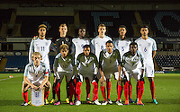 England pre match team photo during the International friendly match between England U19 and Bulgaria U19 at Adams Park, High Wycombe, England on 10 October 2016. Photo by Andy Rowland.