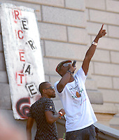 24 Aug 08: The hip hop group Dead Prez performs on the steps of the Colorado state capitol building. On the day before the Democratic National Convention is scheduled to begin about 1,500 people participated in the ReCreate 68 rally, which included a march from the Colorado state capitol building to the Pepsi Center.