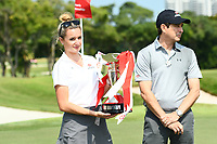 SINGAPORE - MARCH 03: Trophy presentation after the final round of the HSBC Women's World Championship 2019 at Sentosa Golf Club - Tanjong Course, Singapore on March 03, 2019.<br /> .<br /> .<br /> .<br /> (Photo by: Naratip Golf Srisupab/SEALs Sports Images)<br /> .<br /> Any image use must include a mandatory credit line adjacent to the content which should read: Naratip Golf Srisupab/SEALs Sports Images