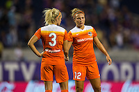 Orlando, FL - Thursday June 23, 2016: Rachel Daly, Amber Brooks after a regular season National Women's Soccer League (NWSL) match between the Orlando Pride and the Houston Dash at Camping World Stadium.