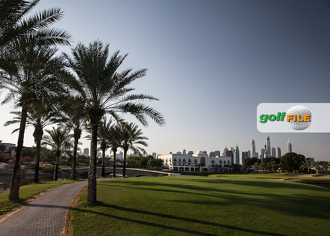 View to the clubhouse rear of the 18th at The Address Montgomerie Golf Club, Dubai, United Arab Emirates.  27/01/2016. Picture: Golffile | David Lloyd<br /> <br /> All photos usage must carry mandatory copyright credit (&copy; Golffile | David Lloyd)