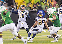 EUGENE, OR - November 7, 2015: The Cal Bears Football team vs the Oregon Ducks at California Memorial Stadium in Berkeley, CA.  Final score, Cal Bears 28, Oregon Ducks 44.