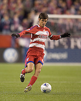 FC Dallas midfielder Pablo Ricchetti (6) brings the ball forward. The New England Revolution defeated FC Dallas, 2-1, at Gillette Stadium on April 4, 2009. Photo by Andrew Katsampes /isiphotos.com