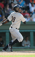 Outfielder Kelvin DeLeon (29) of the Charleston RiverDogs, Class A affiliate of the New York Yankees, in a game against the Greenville Drive on May 15, 2011, at Fluor Field at the West End in Greenville, S.C. Photo by Tom Priddy / Four Seam Images