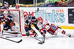 Stockholm 2014-02-24 Ishockey Hockeyallsvenskan Djurg&aring;rdens IF - S&ouml;dert&auml;lje SK :  <br /> S&ouml;dert&auml;ljes Jonas Engstr&ouml;m i kamp om pucken med Djurg&aring;rdens Marcus Ljungh vid Djurg&aring;rdens m&aring;lvakt Adam Reideborn <br /> (Foto: Kenta J&ouml;nsson) Nyckelord: