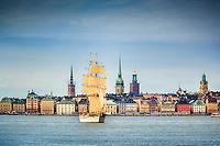 Briggen Tre Kronor seglar framför Gamla Stan med sina kyrkor och gamla hus i Stockholm och bakom syns Stadshuset.