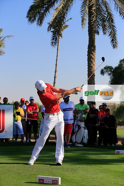 Martin Kaymer (GER) tees off the 14th tee during Pink Friday's Round 2 of the 2015 Omega Dubai Desert Classic held at the Emirates Golf Club, Dubai, UAE.: Picture Eoin Clarke, www.golffile.ie: 1/30/2015