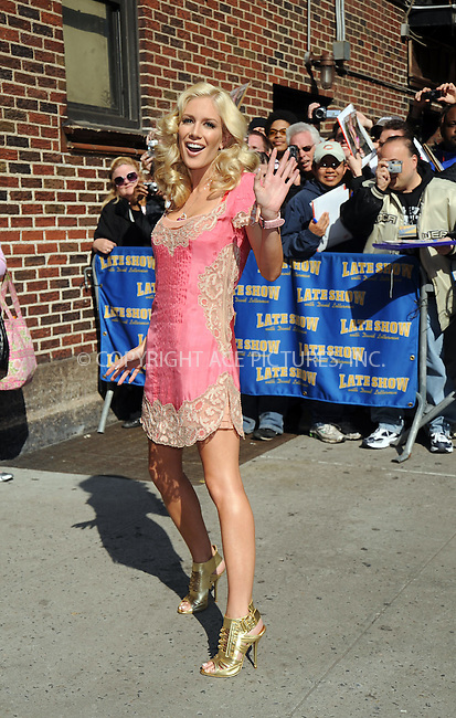WWW.ACEPIXS.COM . . . . . ....April 30 2008, New York City....Actress Heidi Montag made an appearance at the 'Late Show with David Letterman' at the Ed Sullivan Theatre in midtown Manhattan....Please byline: KRISTIN CALLAHAN - ACEPIXS.COM.. . . . . . ..Ace Pictures, Inc:  ..(646) 769 0430..e-mail: info@acepixs.com..web: http://www.acepixs.com