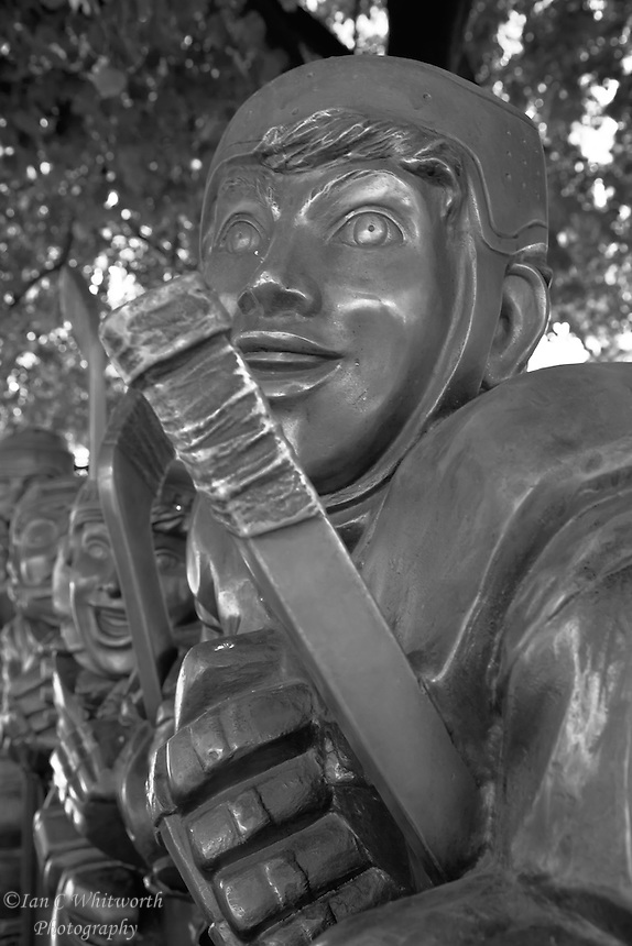 A part of the Our Game sculpture at the Hockey Hall of Fame in Toronto in black and white.