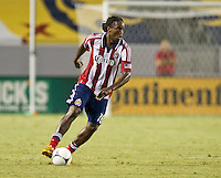 CARSON, CA - August 25, 2012: Chivas USA midfielder Shalrie Joseph (18) during the Chivas USA vs Seattle Sounders match at the Home Depot Center in Carson, California. Final score, Chivas USA 2, Seattle Sounders 6.