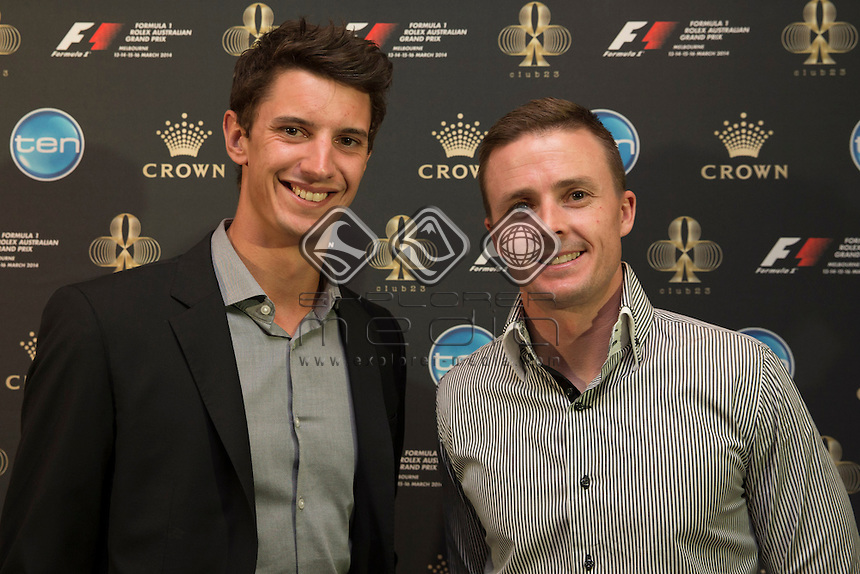 Bathurst winners Nick Percat and Mark Winterbottom on the red carpet at the official welcome of the Melbourne Grand Prix, Melbourne Grand Prix  2014 Australian V8 Supercars  at the Albert Park, Melbourne, Victoria, March 12, 2014.<br /> &copy; Sport the library / Mark Horsburgh
