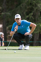 Thomas Pieters (BEL) lines up his putt on the 16th hole during third round at the Omega European Masters, Golf Club Crans-sur-Sierre, Crans-Montana, Valais, Switzerland. 31/08/19.<br /> Picture Stefano DiMaria / Golffile.ie<br /> <br /> All photo usage must carry mandatory copyright credit (© Golffile | Stefano DiMaria)