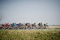 (2nd) peloton during De Moeren passage<br /> <br /> 81st Gent-Wevelgem 'in Flanders Fields' 2019<br /> One day race (1.UWT) from Deinze to Wevelgem (BEL/251km)<br /> <br /> ©kramon