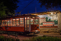 Fort Smith Trolley Museum at night.  The museum operates a fully restored original electric streetcar in historic downtown Fort Smith.