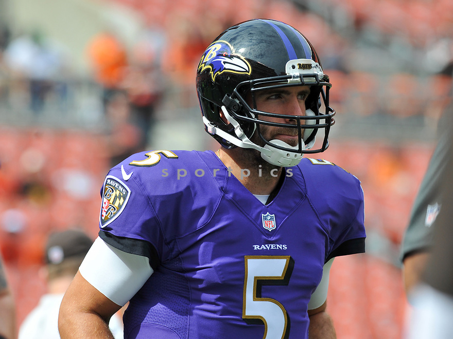 CLEVELAND, OH - JULY 18, 2016: Quarterback Joe Flacco #5 of the Baltimore Ravens runs onto the field prior to a game against the Cleveland Browns on July 18, 2016 at FirstEnergy Stadium in Cleveland, Ohio. Baltimore won 25-20. (Photo by: 2017 Nick Cammett/Diamond Images)  *** Local Caption *** Joe Flacco(SPORTPICS)