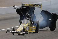Apr. 7, 2013; Las Vegas, NV, USA: NHRA top fuel dragster driver Morgan Lucas during the Summitracing.com Nationals at the Strip at Las Vegas Motor Speedway. Mandatory Credit: Mark J. Rebilas-
