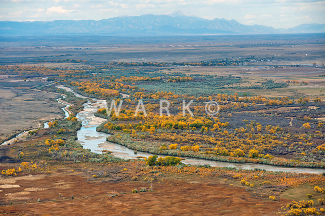 Arkansas River east of Pueblo, Colorado in fall.
