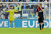 September 10th 2017, Olimpic Stadium, Rome, Italy; Serie A football league, Lazio versus AC Milan;  Goalkeeper Donnarumma frustrated with the defense as his team falls behind