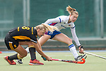 Mannheim, Germany, September 07: During the field hockey Bundesliga match between Mannheimer HC and Harvestehuder THC on September 7, 2019 at Am Neckarkanal in Mannheim, Germany. Final score 2-0. (Photo by Dirk Markgraf / www.265-images.com) *** Laura Saenger #8 of Harvestehuder THC, Naomi Heyn #20 of Mannheimer HC