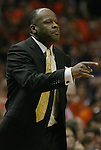 23 December 2008:    Mizzou Head Coach Mike Anderson makes a point with one of his players in the first half.  The University of Missouri and the University of Illinois competed in the annual Busch Braggin' Rights basketball game at the Scottrade Center in downtown St. Louis, Missouri on Tuesday December 23, 2008...