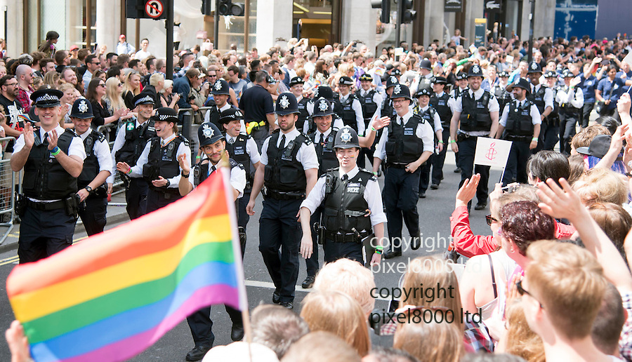Pic shows: Gay Pride March taking place today.<br /> Gay policemen<br /> <br /> Pic by Gavin Rodgers/Pixel 8000 Ltd