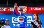 Vincenzo Nibali (ITA) Bahrain-Merida takes over the mountains Blue Jersey at the end of Stage 3 of the Deutschland Tour 2019, running 189km from Gottingen to Eisenach, Germany. 31st August 2019.<br /> Picture: ASO/Henning Angerer | Cyclefile<br /> All photos usage must carry mandatory copyright credit (© Cyclefile | ASO/Henning Angerer)