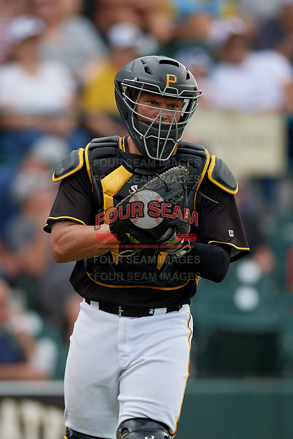 Bradenton Marauders catcher Deon Stafford (37) backs up a play during a Florida State League game against the Palm Beach Cardinals on May 10, 2019 at LECOM Park in Bradenton, Florida.  Bradenton defeated Palm Beach 5-1.  (Mike Janes/Four Seam Images)