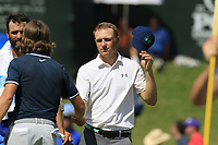 Tommy Fleetwood (ENG) and Jordan Spieth (USA) finish on the 18th green during Saturday's Round 3 of the 2017 PGA Championship held at Quail Hollow Golf Club, Charlotte, North Carolina, USA. 12th August 2017.<br /> Picture: Eoin Clarke | Golffile<br /> <br /> <br /> All photos usage must carry mandatory copyright credit (&copy; Golffile | Eoin Clarke)