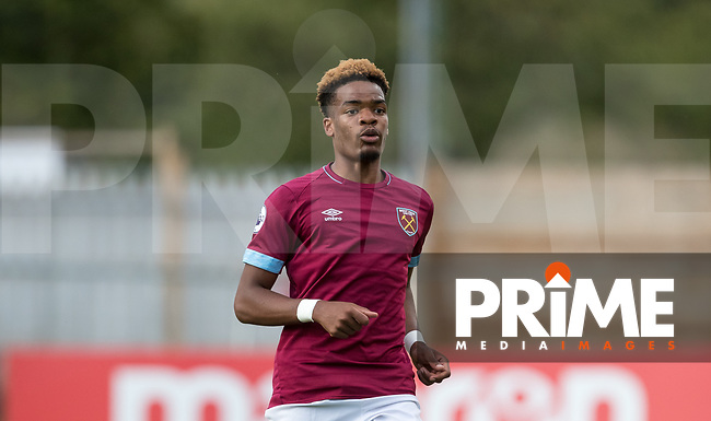 Grady Diagana of West Ham during the Premier League 2 match between Tottenham Hotspur U23 and West Ham United U23 at the Lamex Stadium, Stevenage, England on 13 August 2018. Photo by Andy Rowland.